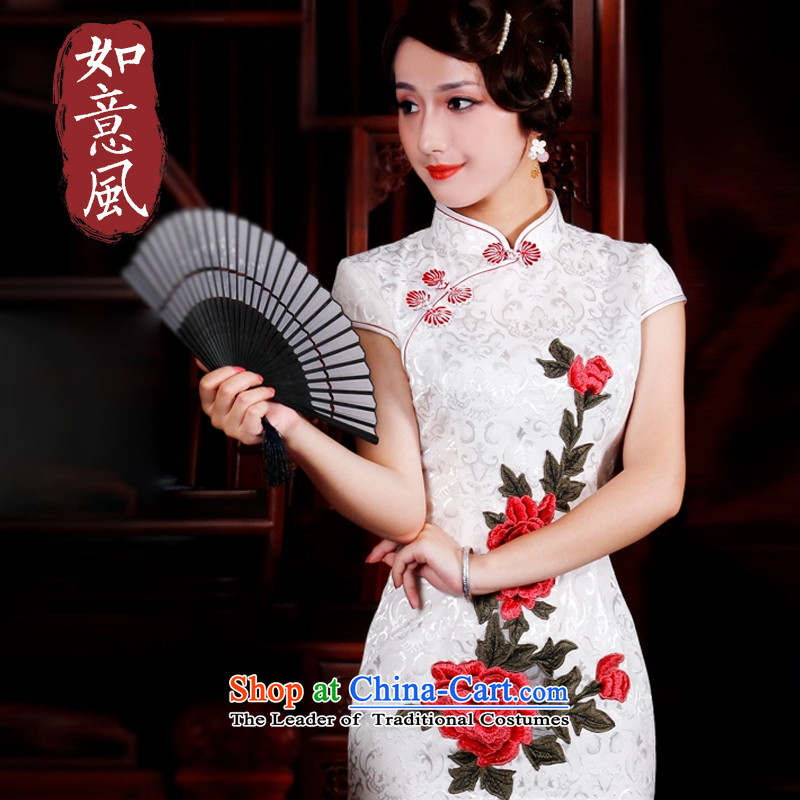 After a day of燣unar New Year 2015 summer, the Wind jacquard cotton peony embroidery stylish improved leisure short of Qipao�15 3015 on white燤