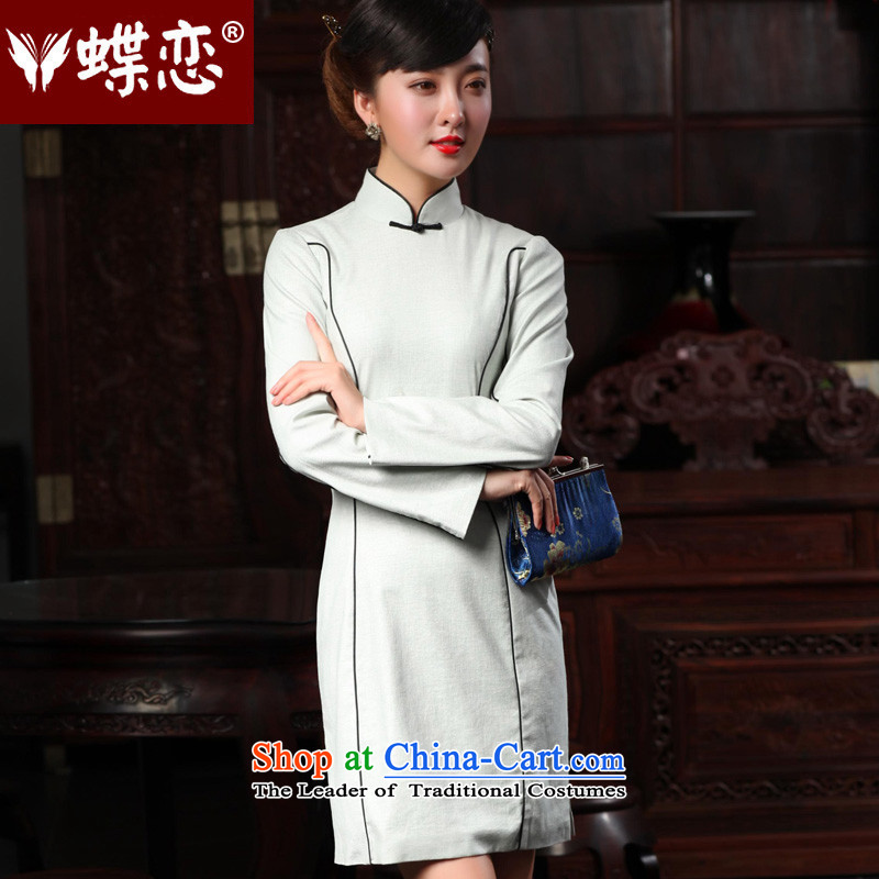 Butterfly Lovers 2015 Autumn New) cheongsam dress retro style cheongsam dress daily improved Sau San qipao was 48,010 silver gray�XXL