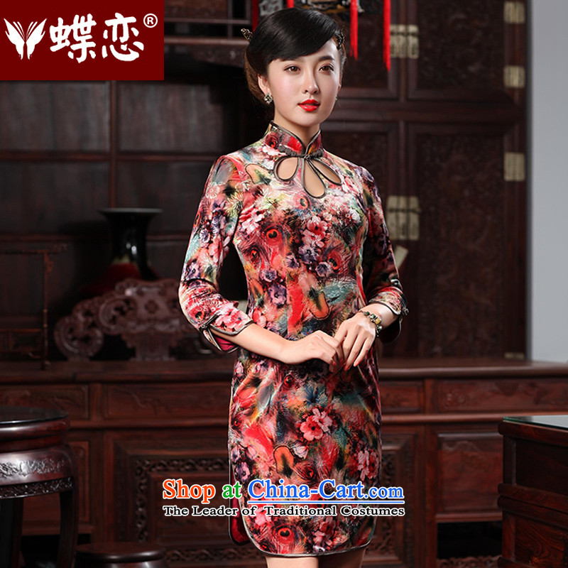 Butterfly Lovers 2015 Autumn new stylish water droplets of improvement for the skirt daily qipao retro of Qipao 48011 lint-free Singing Birds and Fragrant Flowers聽XXL