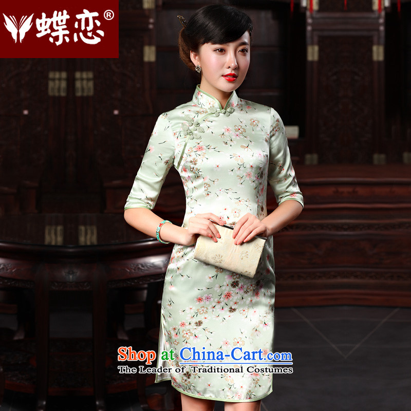 Butterfly Lovers autumn 2015 replacing stylish improved herbs extract cheongsam dress Sau San retro long Silk Cheongsam Dianthus flowers?M