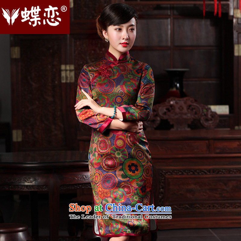 Butterfly Lovers 2015 Autumn New) Improved stylish qipao cheongsam dress dresses in the day-to-day long Sau San Xiang Yun yarn Silk Cheongsam 48013 year?L