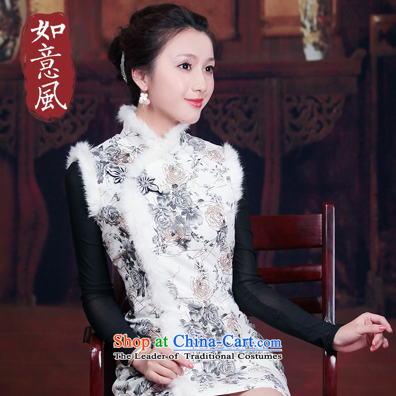 After a new wind Fall_Winter Collections of nostalgia for the improvement of short stylish daily gross for Sau San cheongsam dress female white燤 3056 3056