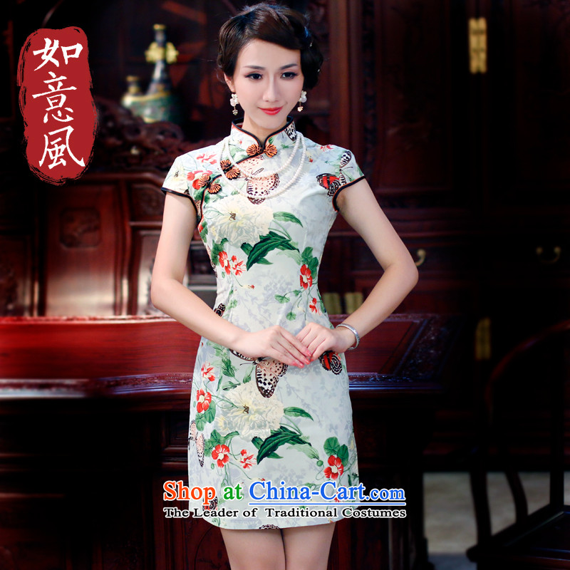 After a day of wind�spring and summer 2015 new women's improved butterfly Stylish retro-day summer 3013 3013 suits cotton qipao�L
