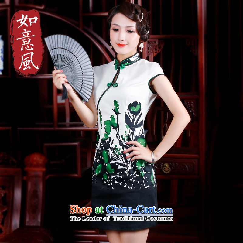 After the�14 spring wind summer qipao improved short-sleeved stylish cotton flowers daily qipao positioning skirt 2046 2046 Green燬