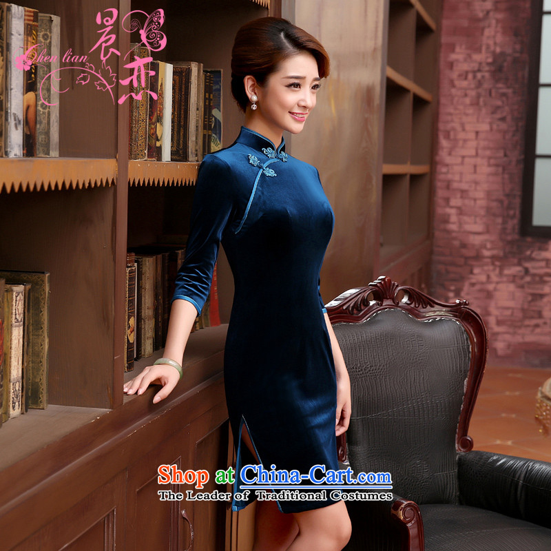 Morning spring and autumn 2015 new land Stylish retro short of improvement in the wool cuff cheongsam dress tri-color blue聽155_S