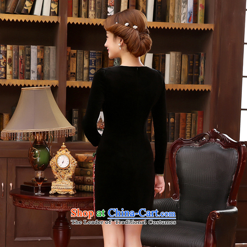 The 2014 autumn morning land in the new elderly women who are in the velvet cuff mother large load female black聽, L, morning land has been pressed shopping on the Internet