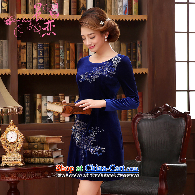 The 2014 autumn morning land new Stylish retro short, long-sleeved improved velvet princess skirt blue blue�155/S