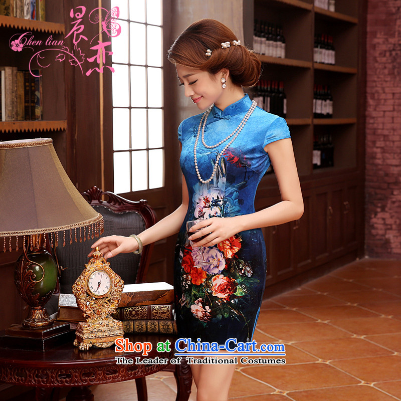 Morning spring and autumn 2014 new land Stylish retro short-sleeved short improvement_ scouring pads in the reusable cuffs cheongsam dress even two-color blue聽155_S
