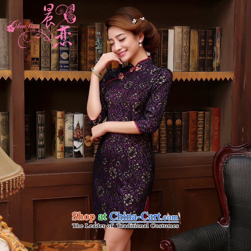 Morning spring and autumn 2015 new land Stylish retro short of improvement in the lace cuff cheongsam dress MOM pack purple燤