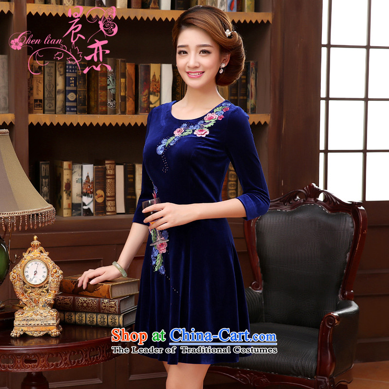 The 2014 autumn morning land new Stylish retro short, long-sleeved improved velvet curtains of dresses blue blue�XL