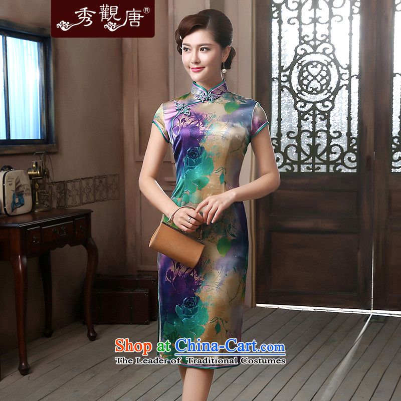 -Sau Kwun Tong- cold-yuk Shanghai Silk Cheongsam in high-end of the king long herbs extract retro dress suit燲L QD4723