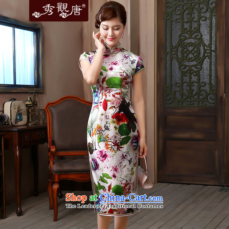 [Sau Kwun Tong] air freshener 2015 Long Silk Cheongsam upscale herbs extract retro evening dress QD4804 SUIT S