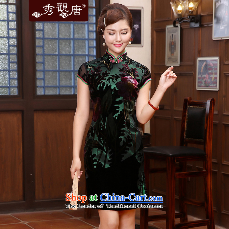 [Sau Kwun Tong] Silk Cheongsam?2015 cloying spring retro look with dress mother Sau San QD4809 Suit?M