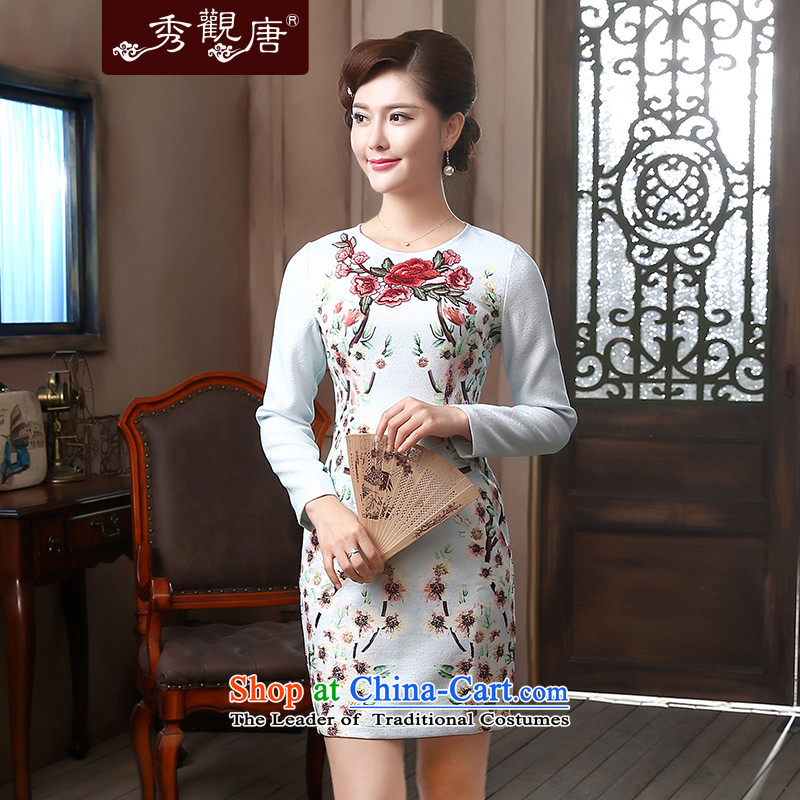 [Sau Kwun Tong] Chi-mei long-sleeved round-neck collar improved Stylish�spring 2015 qipao put embroidered dress QZ4801 SKYBLUE�L