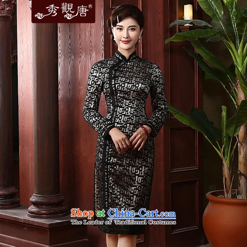 [Sau Kwun Tong] Nga commonly spring 2015 long-sleeved qipao retro improvement long temperament lace QC4733 Black�XL