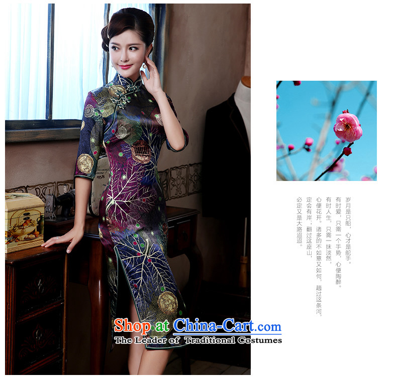 [Sau Kwun Tong] style of Silk Cheongsam 2015 upscale herbs extract retro-in's long gown QZ4807 SUIT L picture, prices, brand platters! The elections are supplied in the national character of distribution, so action, buy now enjoy more preferential! As soon as possible.