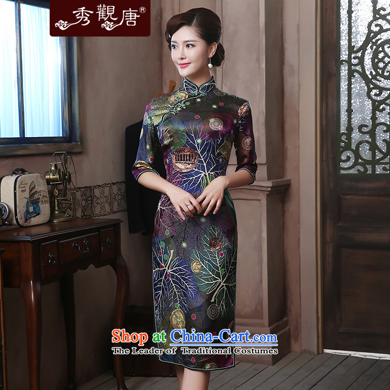 -Sau Kwun Tong- style of Silk Cheongsam聽2015 upscale herbs extract retro-in's long gown QZ4807 SUIT聽L