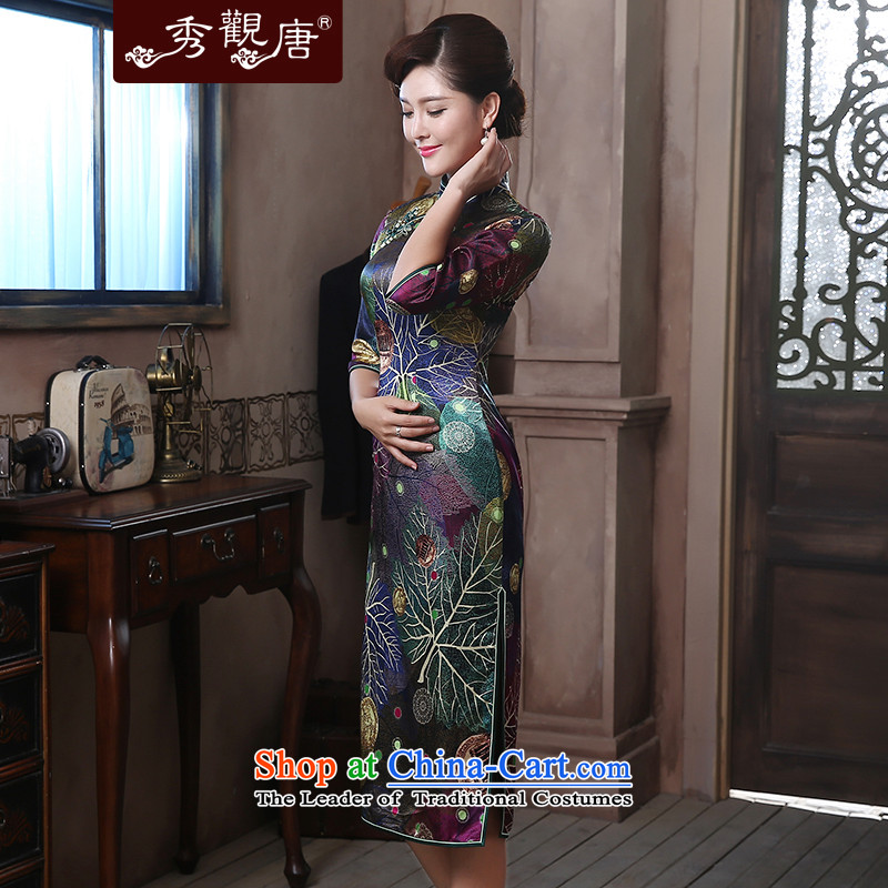 [Sau Kwun Tong] style of Silk Cheongsam 2015 upscale herbs extract retro-in's long gown QZ4807 suit , L, Sau Kwun Tong shopping on the Internet has been pressed.