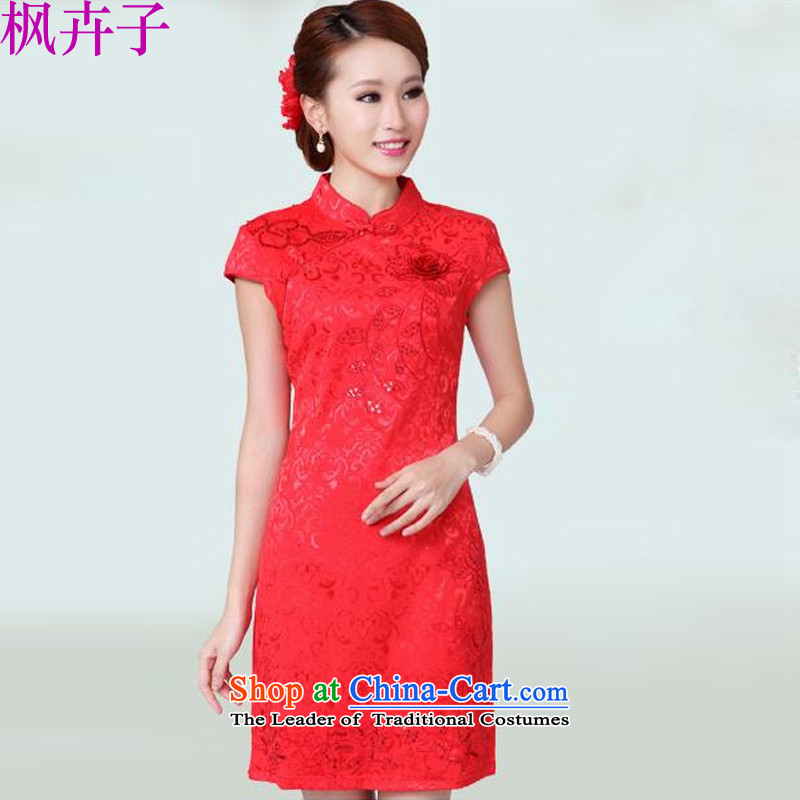 Maple Hui Sub 2015 Marriage qipao bows services new summer wedding dresses qipao red F6601B RED M