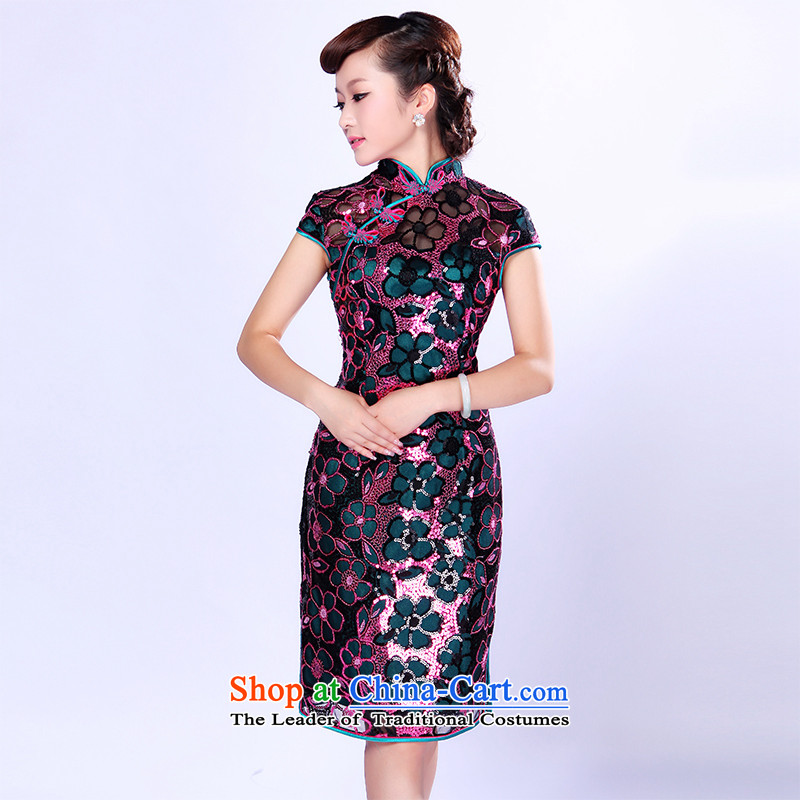 After the elections as soon as possible new wind 2015 skirt Fashion manually staple qipao beads on improved cheongsam dress is 1003 1003 blue red chip?S