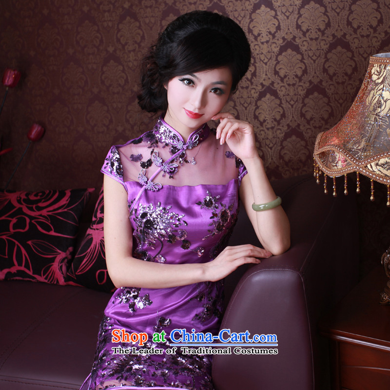 After the elections as soon as possible new wind 2015 Summer qipao lace on chip retro ethnic qipao 2068 2068 purple燲L