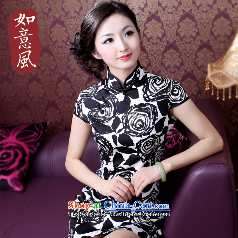 After a?2015 Summer Wind Stylish retro ethnic improved Sau San daily short skirts of qipao cotton 1047 XXL