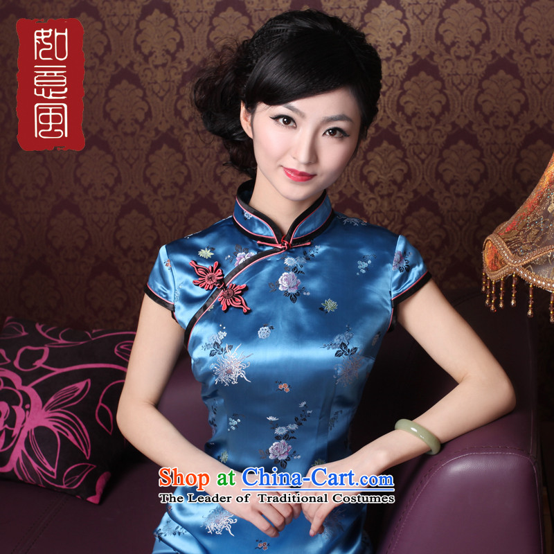 After a day of wind爏pring and summer 2015, new luxury high-end style qipao classic traditional short-sleeved qipao 4017 4017 Blue燤