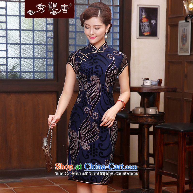-Sau Kwun Tong- It 2015 Sau San retro style qipao temperament improved cheongsam dress QD4802 DARK BLUE燣