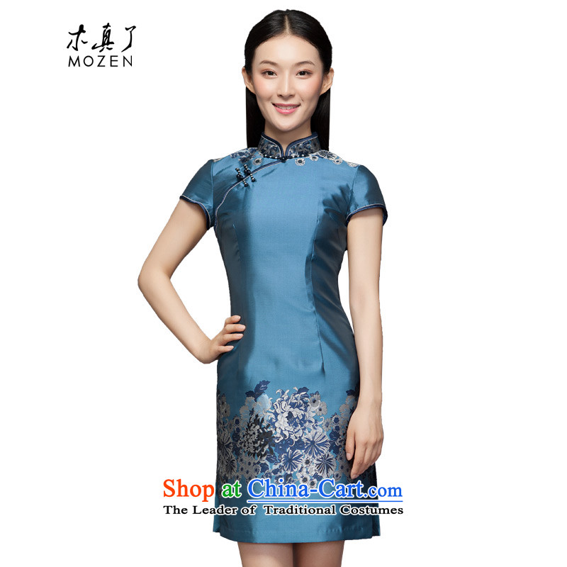 Spring skirt the qipao really wood spring 2015 new positioning, improvement of qipao spend a short skirt 11509 10 Blue?L