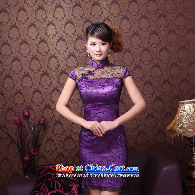 After the elections as soon as possible the 2014 Summer wind new improved Lace Embroidery manually upscale bridal dresses qipao 0092 0092 Purple Rose XXL