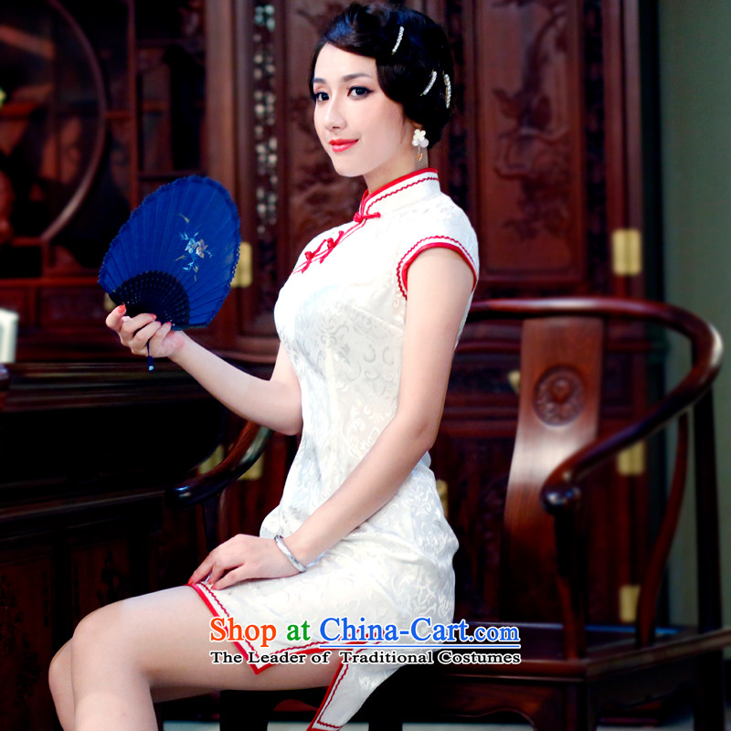 After a day of�2015, the Wind stylish improved summer Stylish retro stamp qipao Chinese skirts 0166 0166 Red�S