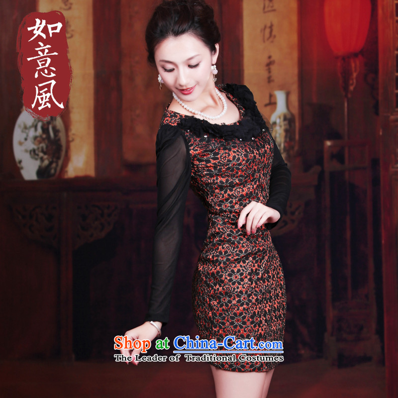 ?Replace spring and autumn 2014 wind after a new women's dresses retro long-sleeved improved stylish lace cheongsam dress 3071 3071 BISQUE?L