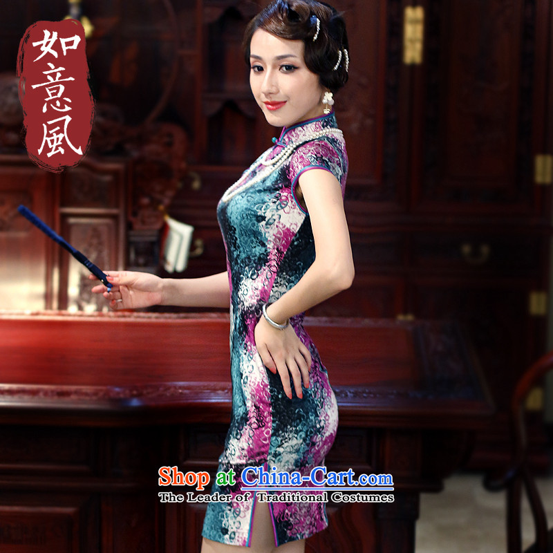 After a new wind 2015 improved cheongsam dress stylish early summer stamp cotton daily cheongsam dress suit 3016 3016燬