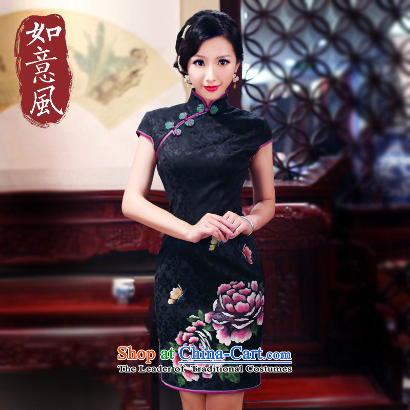After a day of summer 2015, Wind qipao hand-painted qipao new dresses everyday?black?XL 2149 2149 Cheongsam
