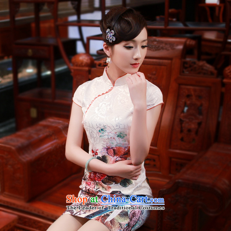 After a new wind 2015 Summer High-end cheongsam dress Stylish retro stamp cheongsam dress suit 4337 4337聽XL