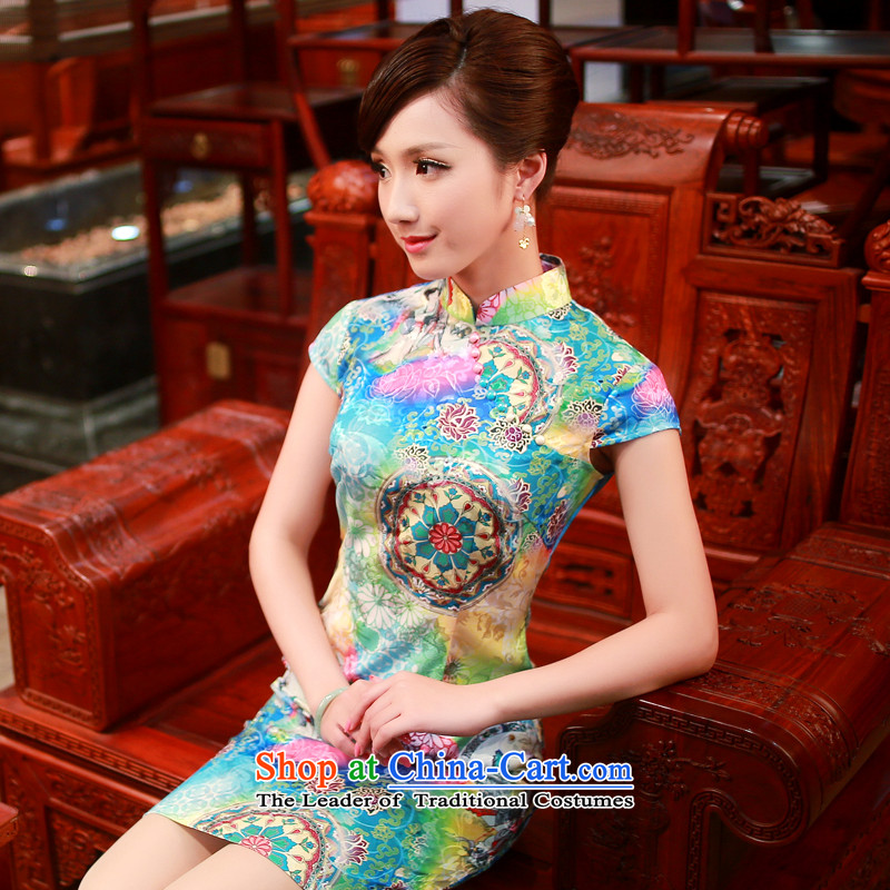 After a new wind for women cheongsam dress Stylish retro improved qipao stamp everyday dress 4338 4338 Blue?M
