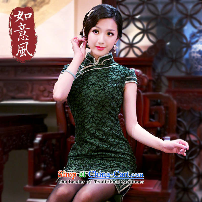 After a 2014 autumn wind new stylish retro QIPAO) Improved Ms. short-sleeved warm cheongsam dress 3095 3095 Green XXL