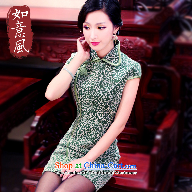 After the爁all of 2014, the wind load improved new Stylish retro national republic of korea wind Sau San short cheongsam dress 3085 3085 Green燬
