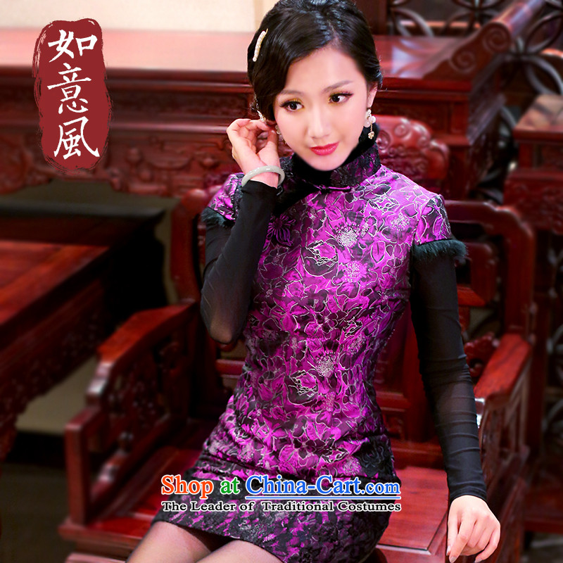 After a day of wind爊ew women's 2014 Fall_Winter Collections fashion improved short_ rabbit hair retro-thick cotton qipao�82 0282 purple燤