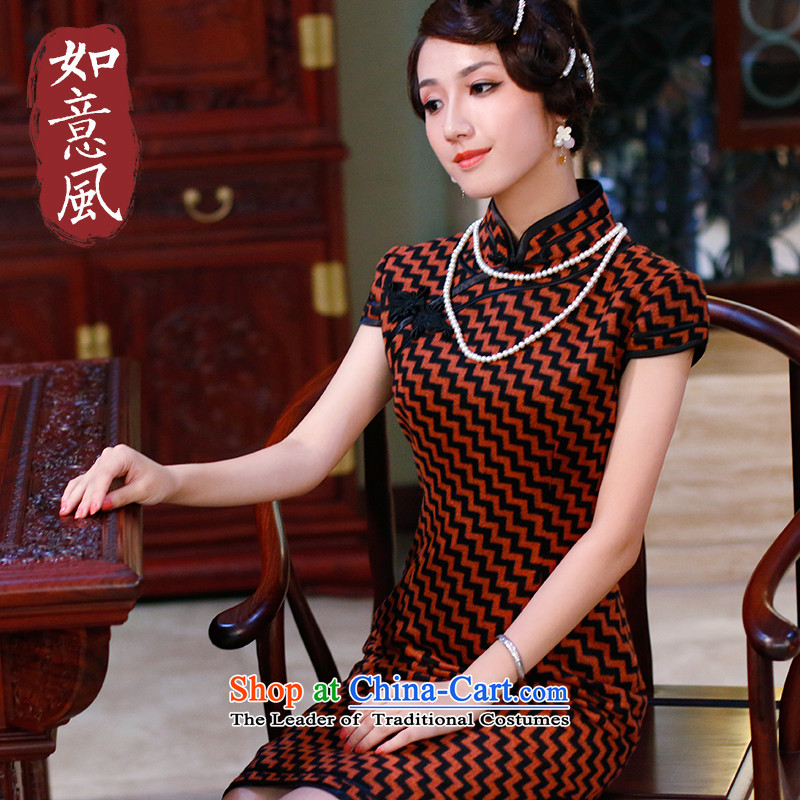 After the autumn and winter wind improved short skirts qipao high end_ of daily qipao wool dresses48204820 orange燲XL