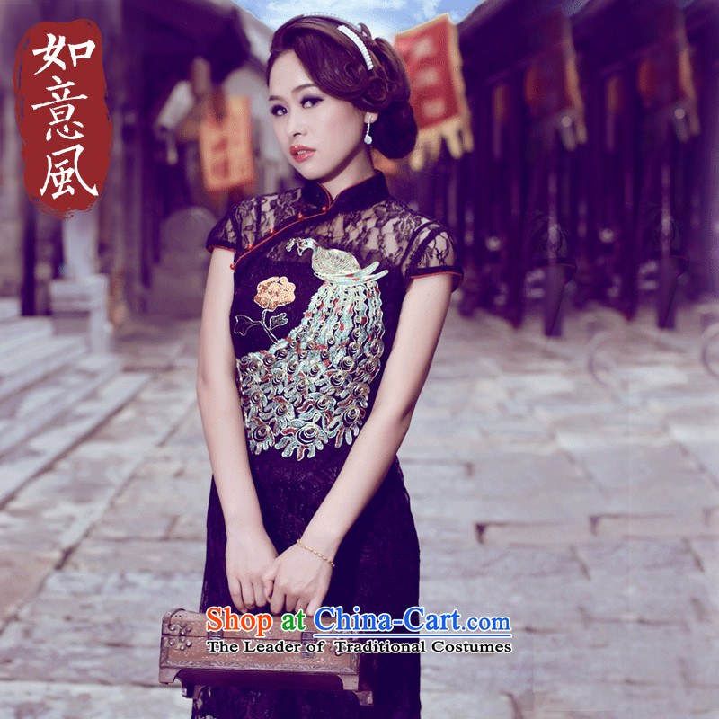 After the elections as soon as possible new wind 2015 Summer Lace Embroidery improved import retro style banquet style qipao 0248 0248 Black?S