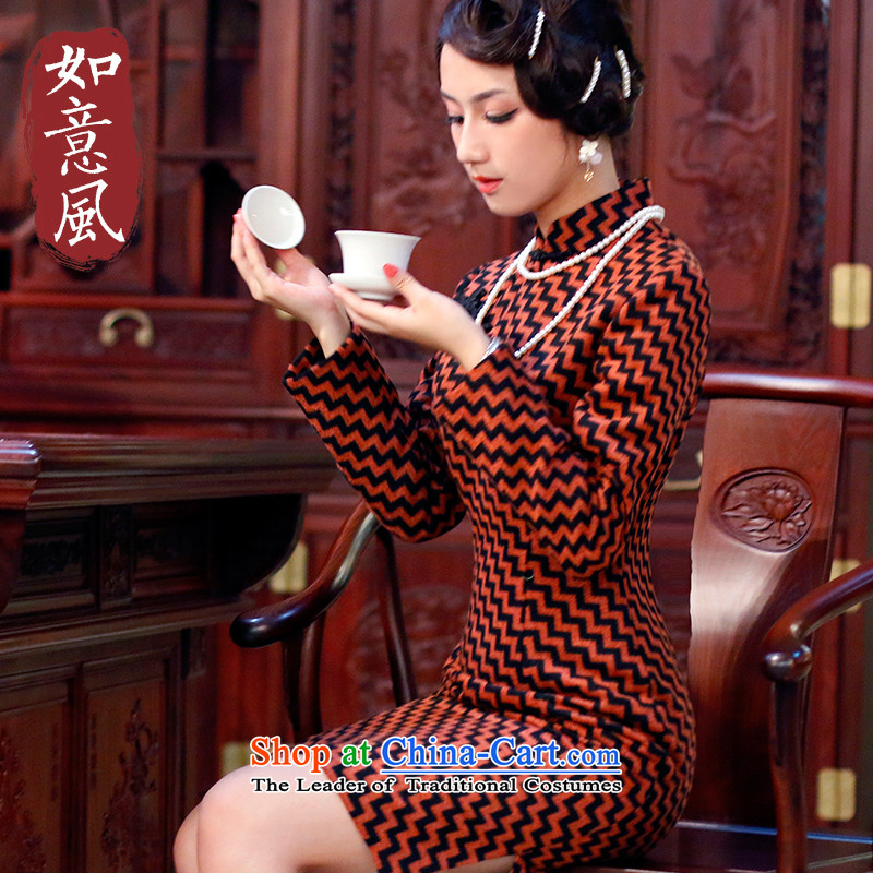 After?2014 the new wind autumn and winter streaks long-sleeved qipao warm wool retro cheongsam dress?   4824 4824 ORANGE?M
