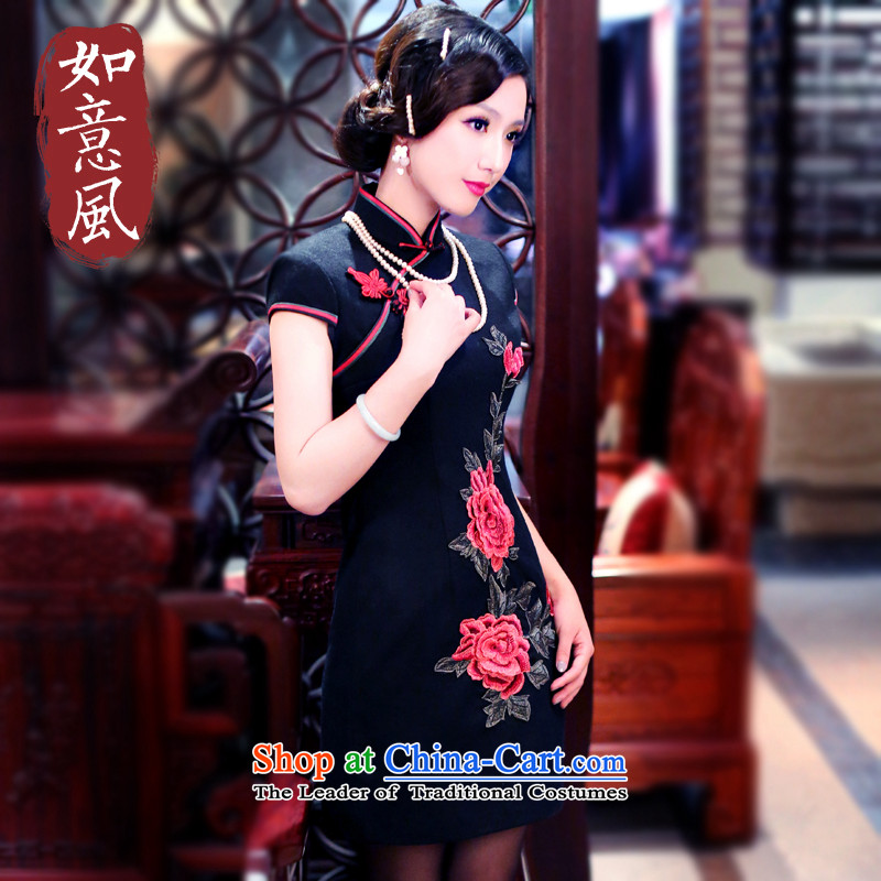After a day of wind?load autumn and winter 2015 New Stylish retro-thick Ms. Mudan short skirts QIPAO) 3060 3060 Black?XL