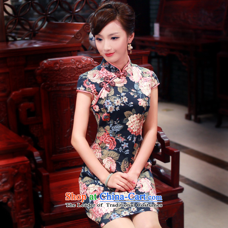 After a day of the spring and summer of 2015, the Wind Mudan New Stylish retro improved daily short-sleeved cheongsam dress 4008 4008 Blue燲L
