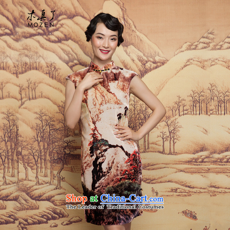 Winter dresses wood really 2015 New Ink Painting scouring pads, qipao 21882 Sau San short 09 coffee-colored聽XXL