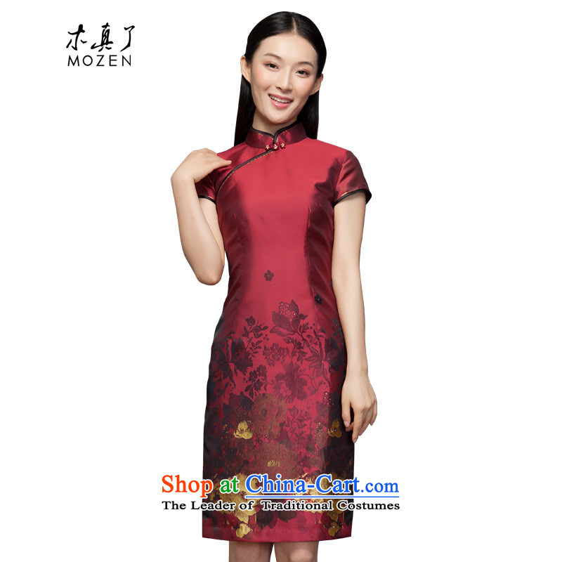 Winter dresses wood really 2015 New English thoroughbred positioning flower short qipao 11711 04 deep red�M