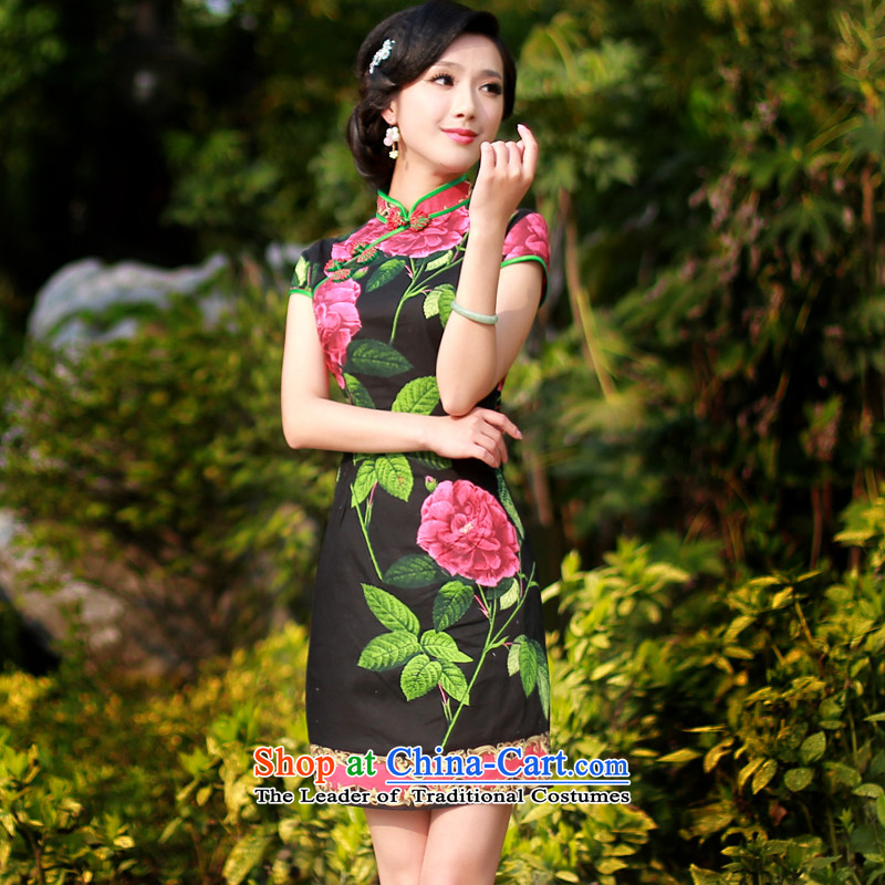 After a new wind 2015 improved cheongsam dress stylish early summer stamp cotton daily cheongsam dress 4,326 4,326 black?L