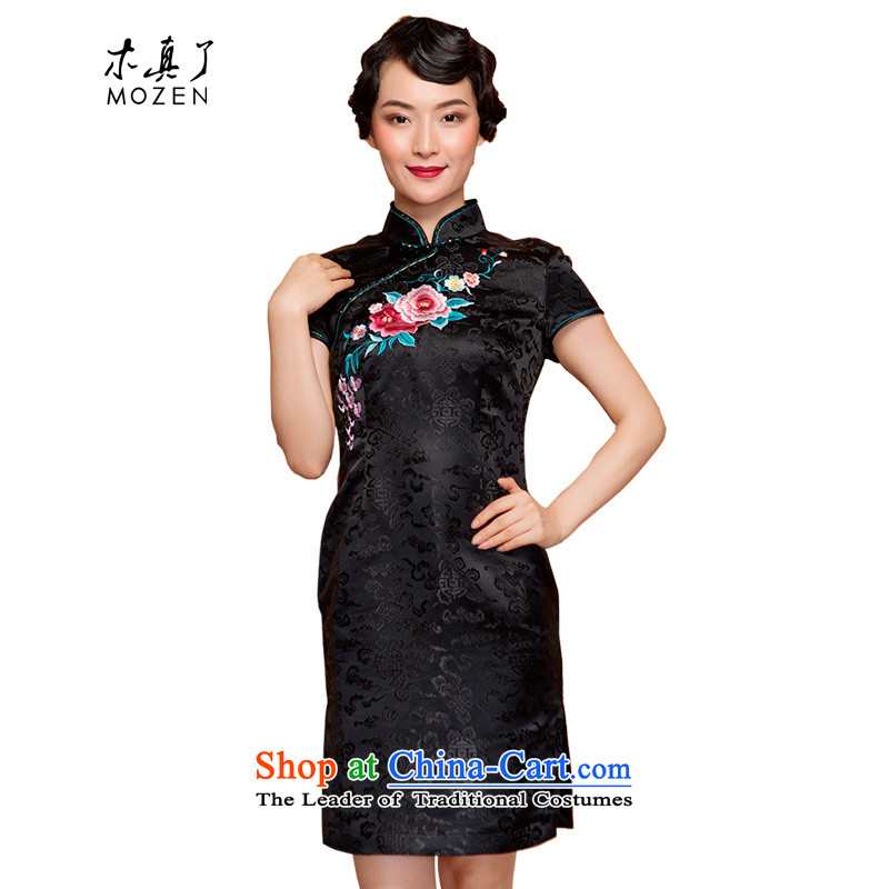 Wood in spring and summer of 2015 really new embroidered short of Sau San qipao winter dresses 22131 01 Black?M