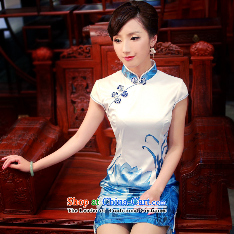 After a day of wind爏pring and summer 2015 new stylish improved water ink stamp leisure suit short-sleeved qipao 4016 4016 White燲XL