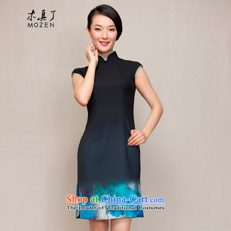 Wooden spring of 2015 really new short of Qipao Sau San video thin winter dresses 32616 01 Black燤